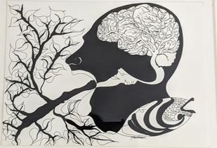 Sagacity by Darshan Kumar YU, Illustration Drawing, Pen & Ink on Paper, Westar color