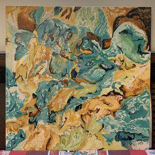 A Teal Story by Neha Kayarkar, Abstract Painting, Acrylic & Ink on Canvas, Clay Creek color