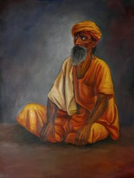 Sadhu by Ram Rokade, Expressionism Painting, Oil on Paper, Rock color