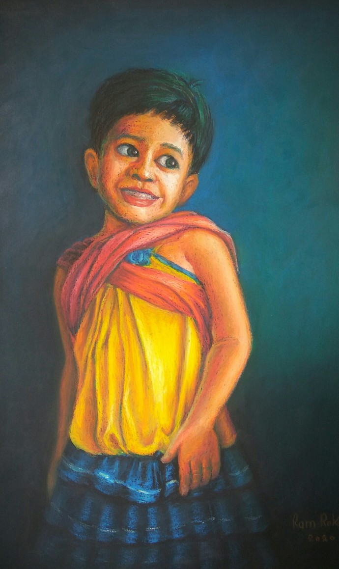Untitled by Ram Rokade, Expressionism Painting, Oil Pastel on Paper, Anzac color