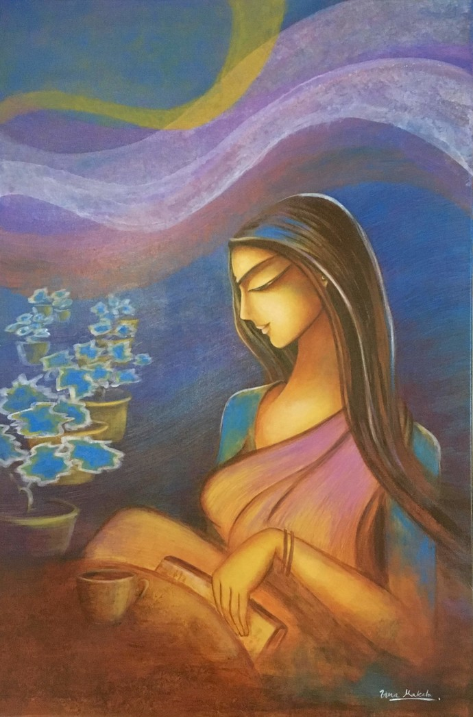 Aloukikam by Uma Makala, Impressionism Painting, Acrylic on Canvas, Mid Gray color