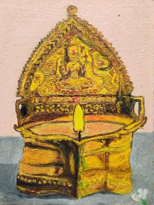 Kamakshi Vizhakku by Sudha Sneha D, Expressionism Painting, Oil on Canvas Board, Alpine color