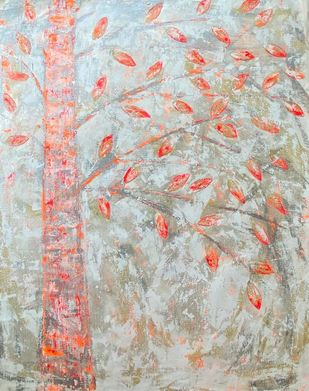 Soultree: apricity by Cheena Madan, Abstract Painting, Acrylic on Canvas, Cotton Seed color