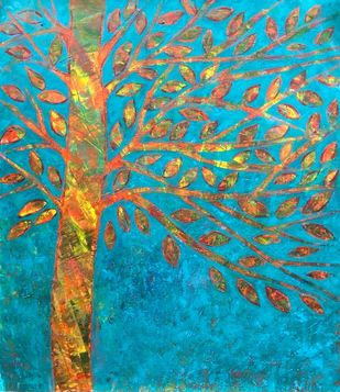 Soultree: ebullience by Cheena Madan, Abstract Painting, Acrylic on Canvas, Antique Brass color