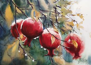 pomagranate by Sunil Linus De, Impressionism Painting, Watercolor on Paper, Olive Haze color