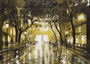 goodnight by Sunil Linus De, Impressionism Painting, Watercolor on Paper, Mondo color