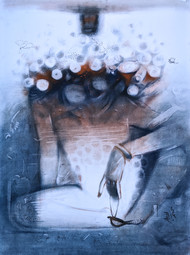 Introversion by Anas Sultan, Conceptual Painting, Dry Pastel on Paper, Spindle color