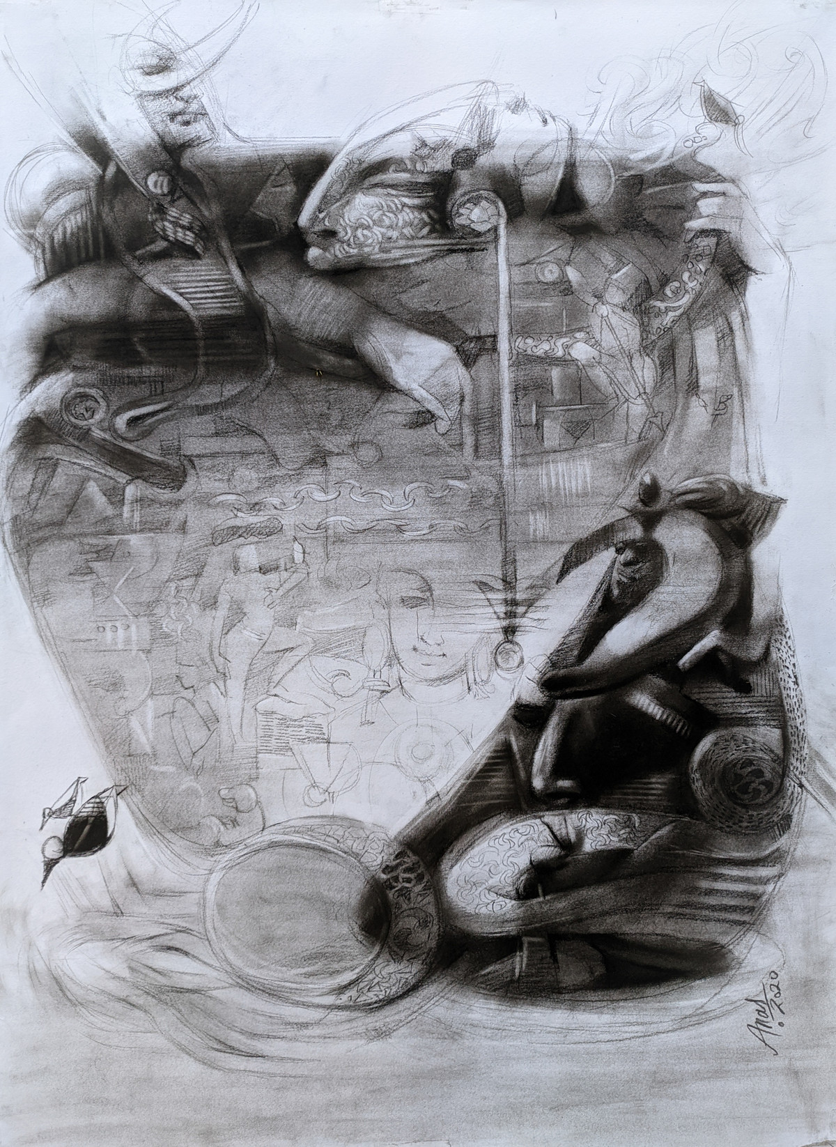 Reincarnation-2 by Anas Sultan, Impressionism Painting, Charcoal on Paper, French Gray color