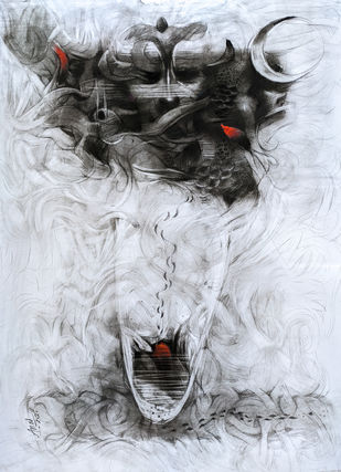 Energy by Anas Sultan, Expressionism Drawing, Charcoal on Paper, Tuatara color