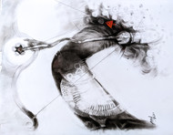 Kaamdev by Anas Sultan, Expressionism Drawing, Charcoal on Paper, Dune color