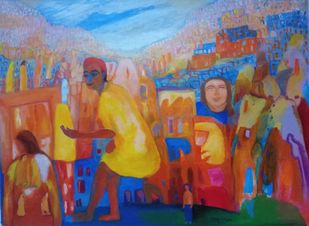 Life within the life by Aradhna Tandon, Expressionism Painting, Acrylic on Canvas, Santa Fe color