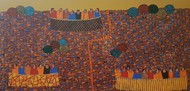 City Scape by Ramakrishna Vasanthula, Expressionism Painting, Acrylic on Canvas, Shingle Fawn color