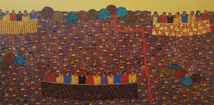 City Scape by Ramakrishna Vasanthula, Expressionism Painting, Acrylic on Canvas, Quincy color