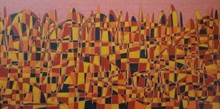 City Scape by Ramakrishna Vasanthula, Expressionism Painting, Acrylic on Canvas, Brown Rust color