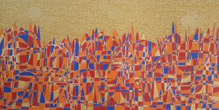 City Scape by Ramakrishna Vasanthula, Expressionism Painting, Acrylic on Canvas, Muddy Waters color