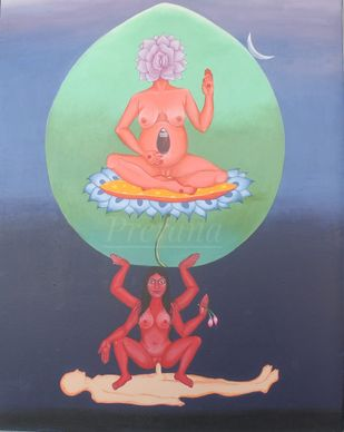 The Cosmic queen by Prerana Sarkar, Expressionism Painting, Acrylic on Canvas, Bali Hai color