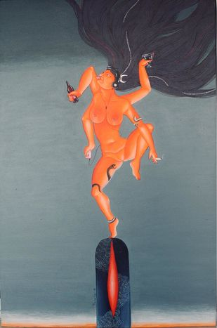 The cosmic dance by Prerana Sarkar, Fantasy Painting, Acrylic on Canvas, Rolling Stone color