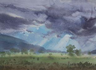 Clouds on field Digital Print by Fareed Ahmed,Impressionism