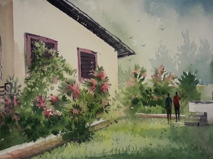 Farmhouse Digital Print by Fareed Ahmed,Impressionism