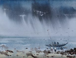 Fisherman Digital Print by Fareed Ahmed,Impressionism