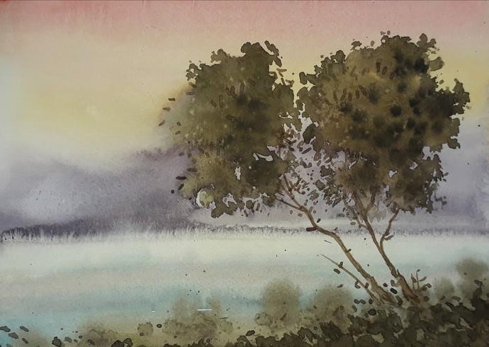 Good Evening Digital Print by Fareed Ahmed,Impressionism