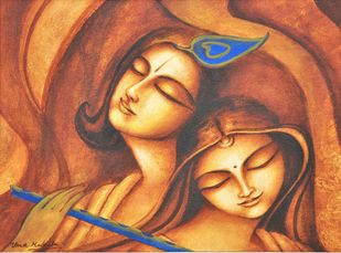 Advaitham by Uma Makala, Traditional Painting, Acrylic on Canvas, Brown color