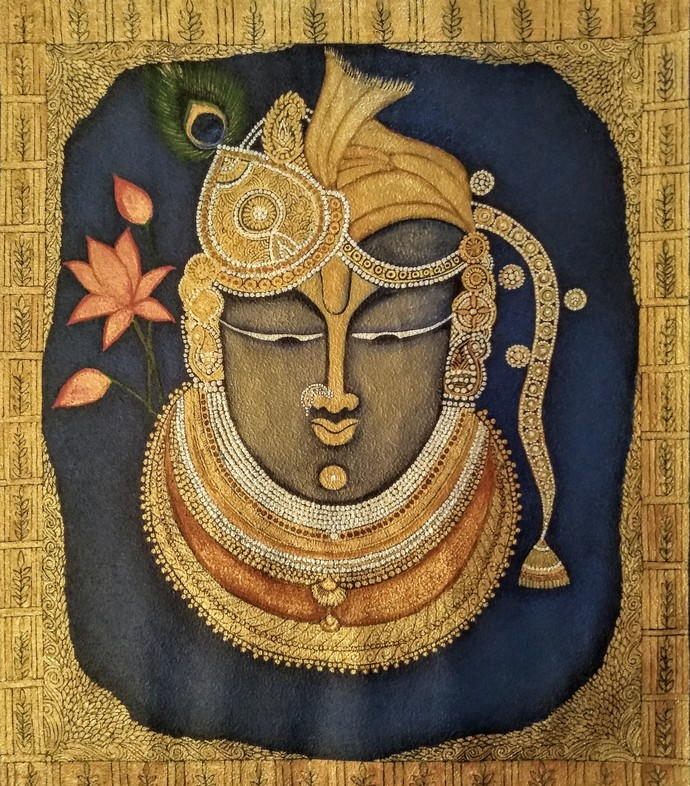 Shrinathji gold by Vibha Singh, Traditional Painting, Acrylic on Canvas, Driftwood color