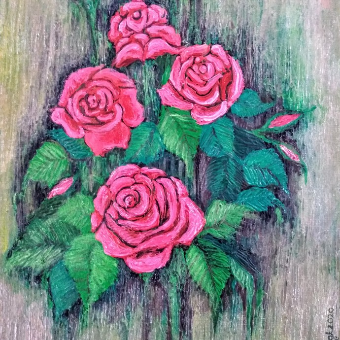 Roses by Vibha Singh, Decorative Painting, Acrylic on Paper, Lilac Luster color