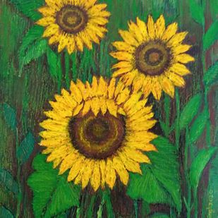 Sunflower by Vibha Singh, Expressionism Painting, Acrylic on Paper, Golden Grass color