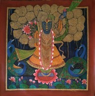 Shrinathji pichwai by Vibha Singh, Expressionism Painting, Acrylic on Canvas, Quincy color