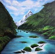 TRANQUIL LAKE by SANOOP KOSHY ZACHARIAH, Expressionism Painting, Acrylic on Canvas, Outer Space color