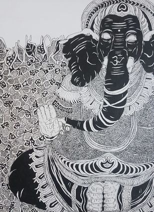 Ganesh by Ramakrishna Vasanthula, Illustration Painting, Pen on Canvas, Shark color