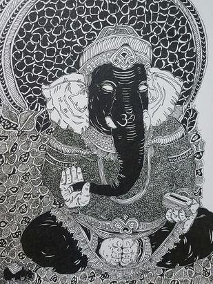 Ganesh by Ramakrishna Vasanthula, Illustration Painting, Pen on Canvas, Iron color