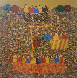 City Scape by Ramakrishna Vasanthula, Geometrical Painting, Acrylic on Canvas, Spicy Mix color