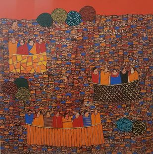 City Scape by Ramakrishna Vasanthula, Expressionism Painting, Acrylic on Canvas, Spice color