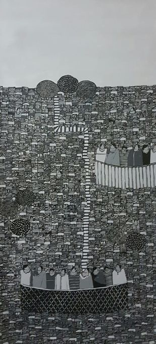 City Scape by Ramakrishna Vasanthula, Expressionism Painting, Acrylic on Canvas, Silver Sand color