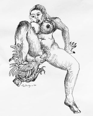 Woman Lover by A.Sathya, Expressionism Drawing, Pen on Paper, Tundora color