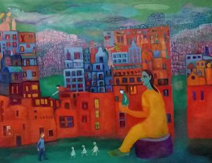 Life within the life by Aradhna Tandon, Expressionism Painting, Acrylic on Canvas, Lotus color