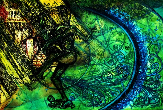 Cosmic Dance by Caesar Das, Expressionism Painting, Mixed Media on Paper, Celery color