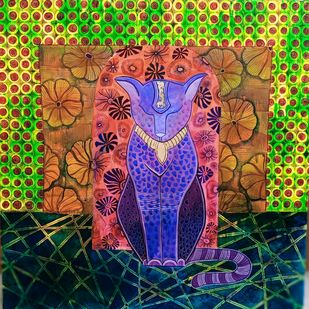 The cat by Anissha Deshpande, Expressionism Painting, Acrylic on Canvas, Baltic Sea color