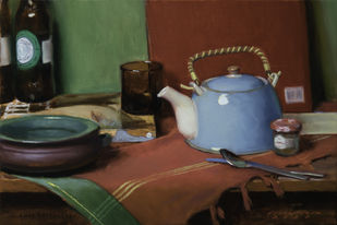 Morning Tea by Amit Shrivastava, Realism Painting, Oil on Linen, Bistre color