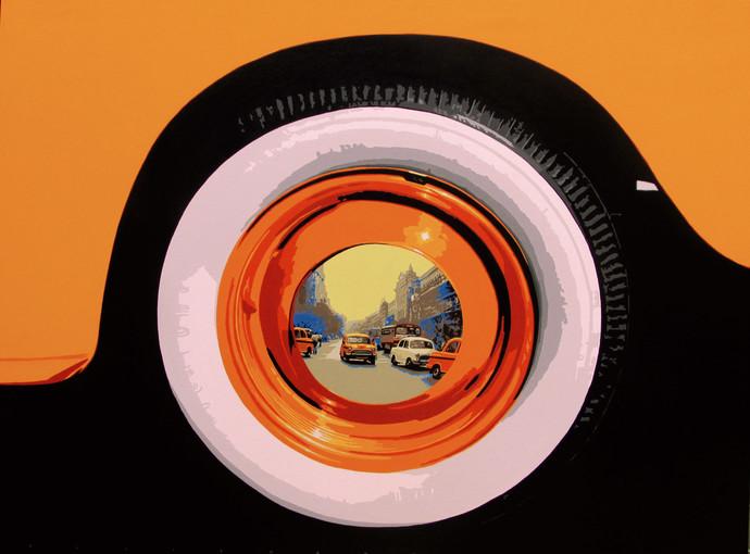 LIFEWHEEL by Sujit Karmakar, Pop Art Painting, Acrylic on Canvas, Licorice color