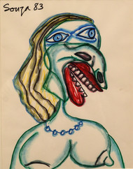 Untitled by F N Souza, Expressionism Drawing, Pen & Ink on Paper, Lunar Green color