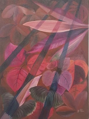 Shadow of the grill by Sunandini Shankaran Balan, Expressionism Painting, Oil on Canvas, Au Chico color