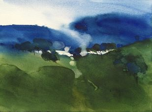 No man's lands_cape 3 by Prashant Prabhu, Impressionism Painting, Watercolor on Paper, Mineral Green color