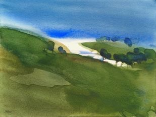 No man's lands_cape 4 by Prashant Prabhu, Impressionism Painting, Watercolor on Paper, Chalet Green color