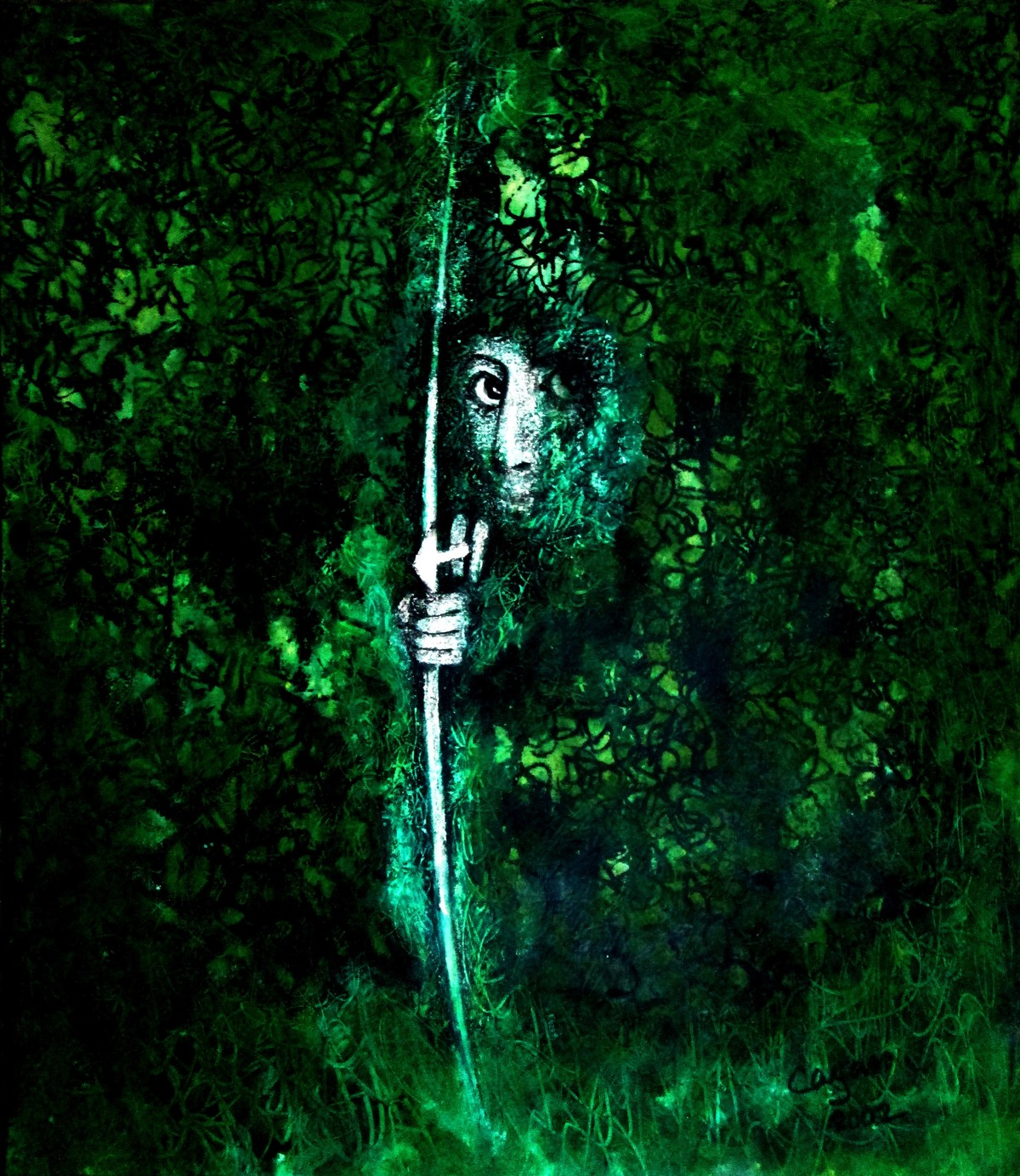 Ekalavya by Caesar Das, Expressionism Painting, Mixed Media on Paper, Palm Green color