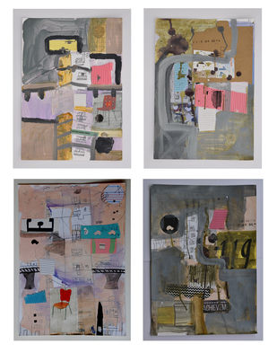Four Abstract Collages by Harpreet Singh, Abstract Painting, Mixed Media on Paper, Schooner color