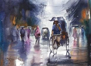 RAINY DAY by Sunil Linus De, Impressionism Painting, Watercolor on Paper, Gun Powder color