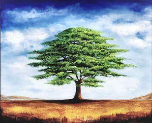 TREE OF LIFE by SANOOP KOSHY ZACHARIAH, Impressionism Painting, Acrylic on Canvas, Botticelli color